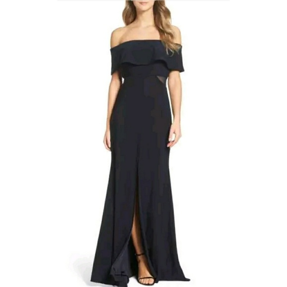 Xscape Dresses | Jersey Popover Gown Dress Navy | Poshmark